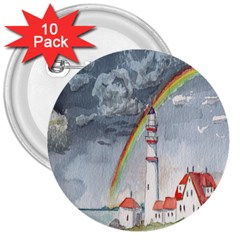 Watercolour Lighthouse Rainbow 3  Buttons (10 Pack)