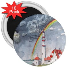 Watercolour Lighthouse Rainbow 3  Magnets (10 Pack)