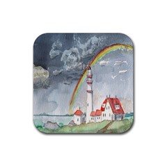Watercolour Lighthouse Rainbow Rubber Coaster (square)