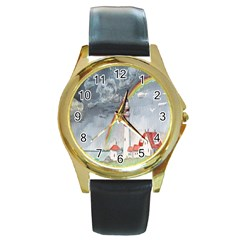 Watercolour Lighthouse Rainbow Round Gold Metal Watch
