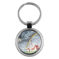 Watercolour Lighthouse Rainbow Key Chains (round)