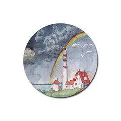 Watercolour Lighthouse Rainbow Rubber Coaster (round)