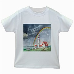 Watercolour Lighthouse Rainbow Kids White T-Shirts