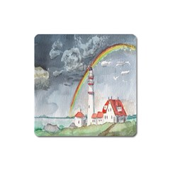 Watercolour Lighthouse Rainbow Square Magnet