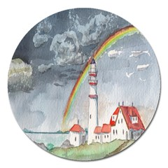 Watercolour Lighthouse Rainbow Magnet 5  (round)