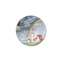 Watercolour Lighthouse Rainbow Golf Ball Marker (4 Pack)