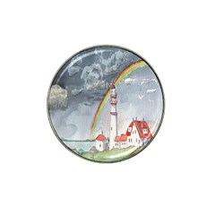 Watercolour Lighthouse Rainbow Hat Clip Ball Marker (4 Pack)