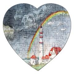 Watercolour Lighthouse Rainbow Jigsaw Puzzle (heart)