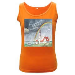 Watercolour Lighthouse Rainbow Women s Dark Tank Top