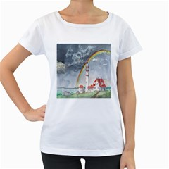Watercolour Lighthouse Rainbow Women s Loose-Fit T-Shirt (White)