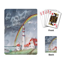 Watercolour Lighthouse Rainbow Playing Card