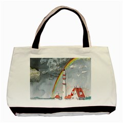 Watercolour Lighthouse Rainbow Basic Tote Bag