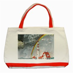 Watercolour Lighthouse Rainbow Classic Tote Bag (Red)