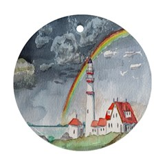 Watercolour Lighthouse Rainbow Round Ornament (two Sides)
