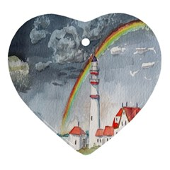 Watercolour Lighthouse Rainbow Heart Ornament (two Sides)