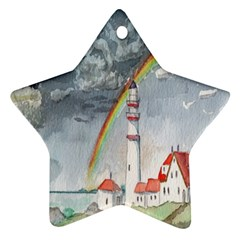Watercolour Lighthouse Rainbow Star Ornament (two Sides)