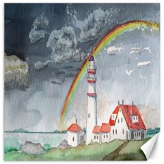 Watercolour Lighthouse Rainbow Canvas 20  X 20