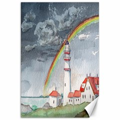 Watercolour Lighthouse Rainbow Canvas 20  X 30