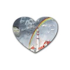 Watercolour Lighthouse Rainbow Rubber Coaster (heart)