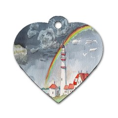 Watercolour Lighthouse Rainbow Dog Tag Heart (two Sides)