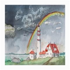 Watercolour Lighthouse Rainbow Medium Glasses Cloth