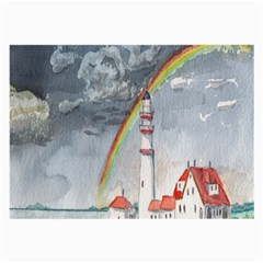 Watercolour Lighthouse Rainbow Large Glasses Cloth (2-Side)