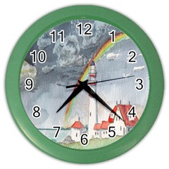 Watercolour Lighthouse Rainbow Color Wall Clocks