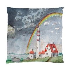 Watercolour Lighthouse Rainbow Standard Cushion Case (One Side)