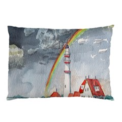Watercolour Lighthouse Rainbow Pillow Case
