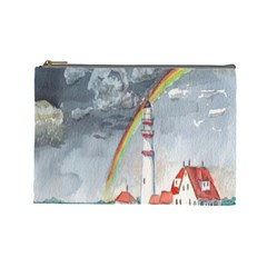 Watercolour Lighthouse Rainbow Cosmetic Bag (Large)