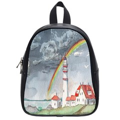 Watercolour Lighthouse Rainbow School Bags (small)
