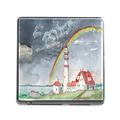 Watercolour Lighthouse Rainbow Memory Card Reader (square)
