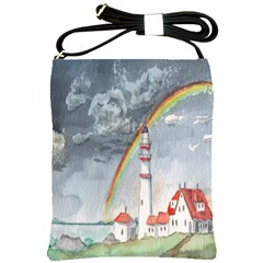 Watercolour Lighthouse Rainbow Shoulder Sling Bags