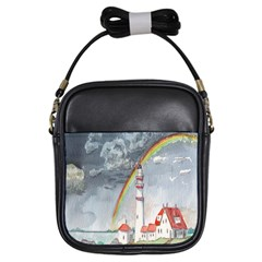 Watercolour Lighthouse Rainbow Girls Sling Bags