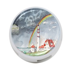 Watercolour Lighthouse Rainbow 4 Port Usb Hub (two Sides)