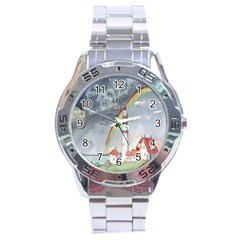 Watercolour Lighthouse Rainbow Stainless Steel Analogue Watch