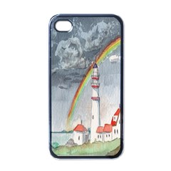 Watercolour Lighthouse Rainbow Apple Iphone 4 Case (black)