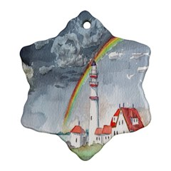 Watercolour Lighthouse Rainbow Ornament (snowflake)