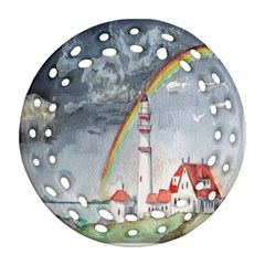 Watercolour Lighthouse Rainbow Round Filigree Ornament (two Sides)