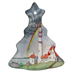 Watercolour Lighthouse Rainbow Christmas Tree Ornament (two Sides)