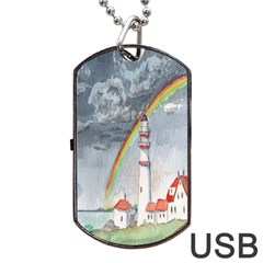 Watercolour Lighthouse Rainbow Dog Tag USB Flash (Two Sides)
