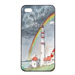 Watercolour Lighthouse Rainbow Apple iPhone 4/4s Seamless Case (Black)