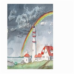 Watercolour Lighthouse Rainbow Large Garden Flag (Two Sides)