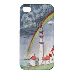 Watercolour Lighthouse Rainbow Apple Iphone 4/4s Premium Hardshell Case