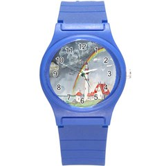Watercolour Lighthouse Rainbow Round Plastic Sport Watch (s)