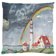 Watercolour Lighthouse Rainbow Large Cushion Case (one Side)