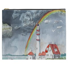 Watercolour Lighthouse Rainbow Cosmetic Bag (xxxl)
