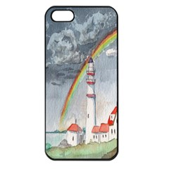 Watercolour Lighthouse Rainbow Apple Iphone 5 Seamless Case (black)