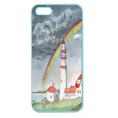 Watercolour Lighthouse Rainbow Apple Seamless Iphone 5 Case (color)