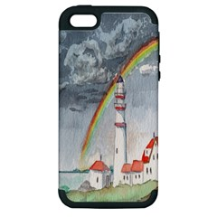 Watercolour Lighthouse Rainbow Apple Iphone 5 Hardshell Case (pc+silicone)